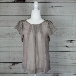 Sisley•M blouse lace trim flutter cap sleeve beige